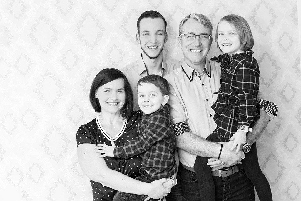 Schwarz Weiß Familienfoto